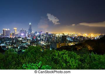 éjszaka, kilátás, közül, város, alatt, taiwan, -, kaohsiung