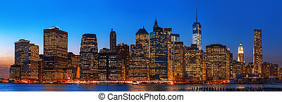 éjszaka, láthatár, panoráma, város, york, új