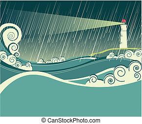 éjszaka, megrohamoz, óceán, világítótorony