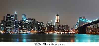 éjszaka, panoráma, város, york, új