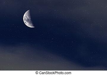 éjszaka, starry ég, háttér., félhold