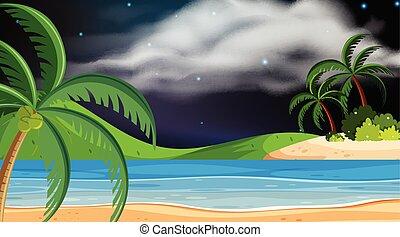 éjszaka, tervezés, táj, háttér, óceán