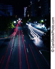 éjszaka, utca táj