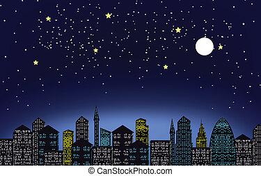 éjszaka, város csillogó