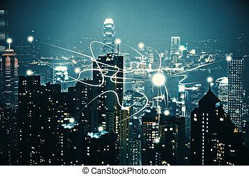 éjszaka, város, háttérfüggöny