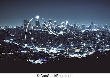 éjszaka, város, struktúra