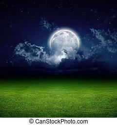éjszaka, zöld terep