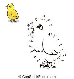 ékezetez, ábra, játék, vektor, összekapcsol, csirke