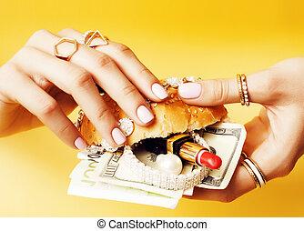 ékszerek, nő,  hamburger, vagyon, kozmetikai, kézbesít, pénz, fogalom, birtok, társadalmi, kiad
