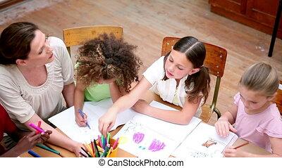 élèves, dessin, stylos coloration