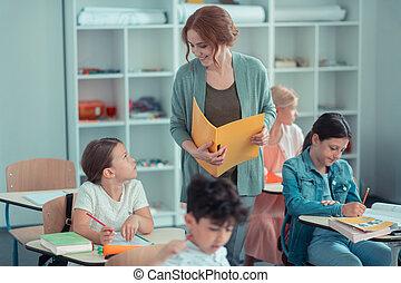 élèves, elle, une, pendant, sourire, prof, test.