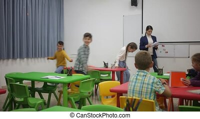 élèves, leçon, élémentaire, séance, vibration, école