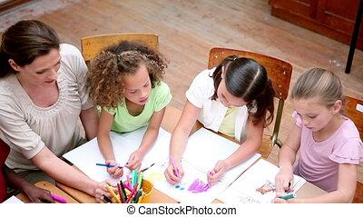 élèves, sourire, ensemble, coloration