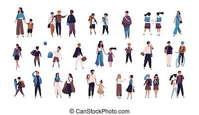 élèves, university., foule, école, rue, collège, style., gens, isolé, minuscule, enfants, arrière-plan., aller, parents, blanc, plat, coloré, étudiants, illustration, école, vecteur, ou