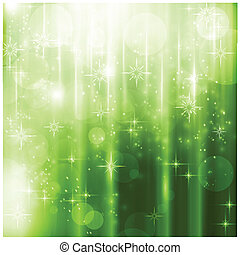 élégant, étincelant, lumières, vert, noël carte