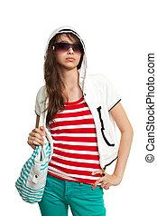 élégant, adolescent, sac à dos, girl