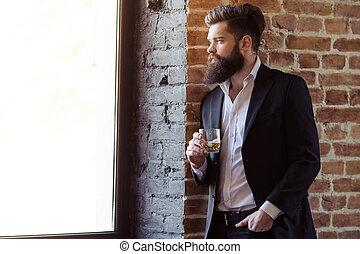 élégant, barbu, homme affaires