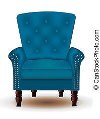 élégant, bois, jambes, chaise, bleu, matelassé