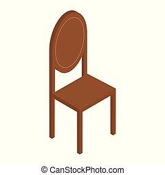 élégant, bois, vendange, illustration, réaliste, vecteur, chair., blanc, chaise