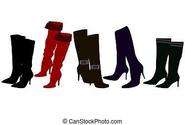 élégant, bottes, femmes