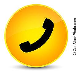 élégant, bouton, jaune, téléphone, rond, icône