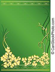 élégant, cadre, flore, vert