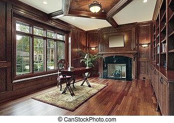 élégant, cheminée, bibliothèque, noir