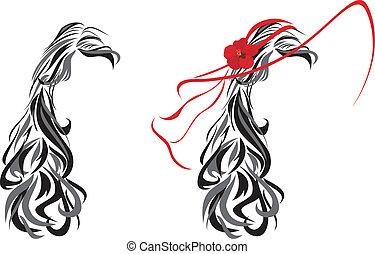 élégant, coiffure, femme