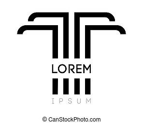 élégant, conception, t, logo