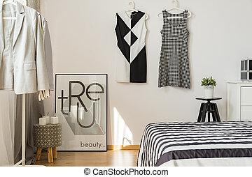 élégant, confortable, chambre à coucher