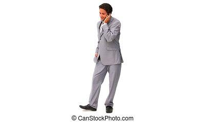 élégant, conversation, homme affaires