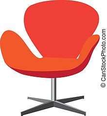 élégant, couleur, moderne, confortable, illustration, arrière-plan., orange, élégant, chaise, blanc rouge