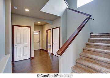 élégant, couloir, escaliers.