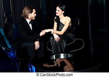 élégant, couple, amour, luxe, restaurant