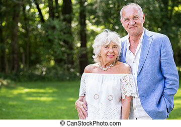 élégant, couples aînés