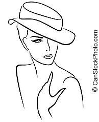 élégant, dame, jeune, chapeau