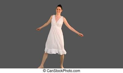 élégant, dancin, blanc, femme, robe