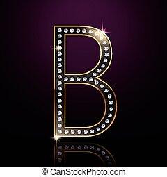 élégant, diamant, b, lettre, 3d
