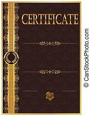 élégant, diplôme, gabarit, certificat