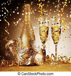 élégant, doré, masque partie, à, champagne
