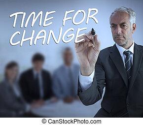 élégant, ecriture homme affaires, temps, pour, changement