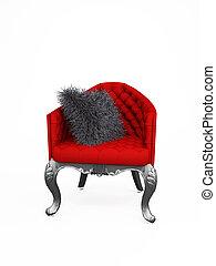élégant, fauteuil, chaise, cushion., luxueux