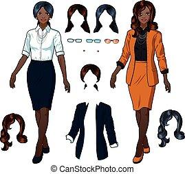 élégant, femme affaires, usage formel, africaine