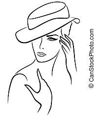 élégant, femme, chapeau, jeune
