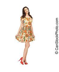 élégant, femme, robe, agréable