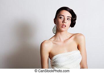 élégant, femme, robe, jeune, modelage