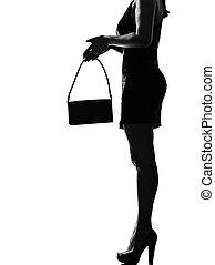 élégant, femme, silhouette, jambes