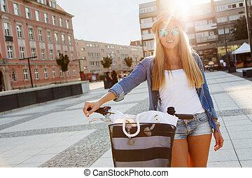 élégant, femme, vélo, jeune