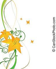 élégant, fleurs