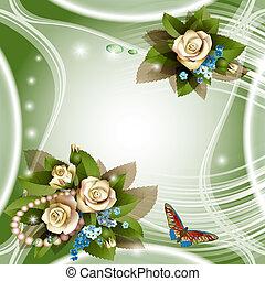 élégant, fond blanc, roses